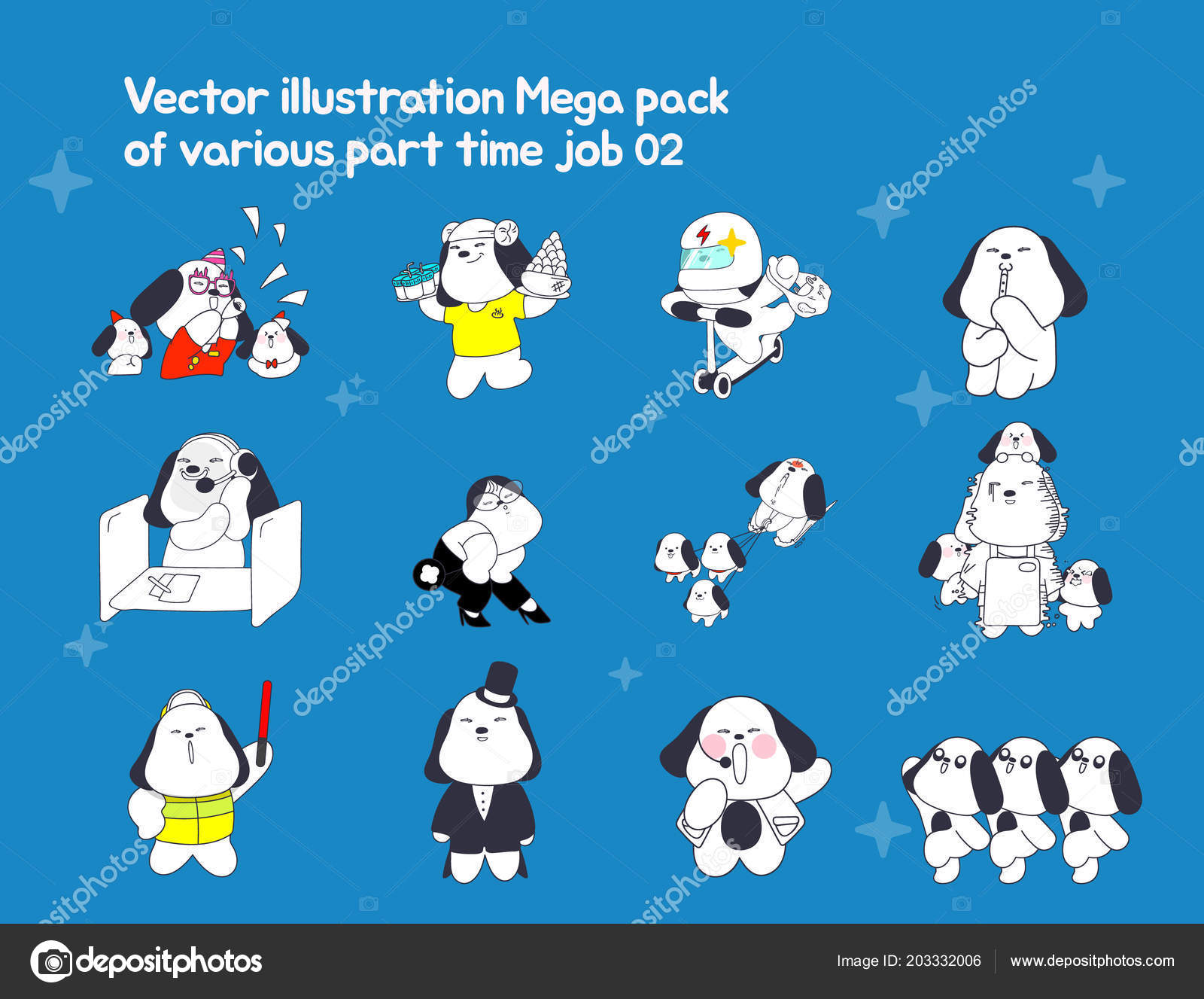 Illustration Pack Has Variety Part Time Jobs Represented Dog