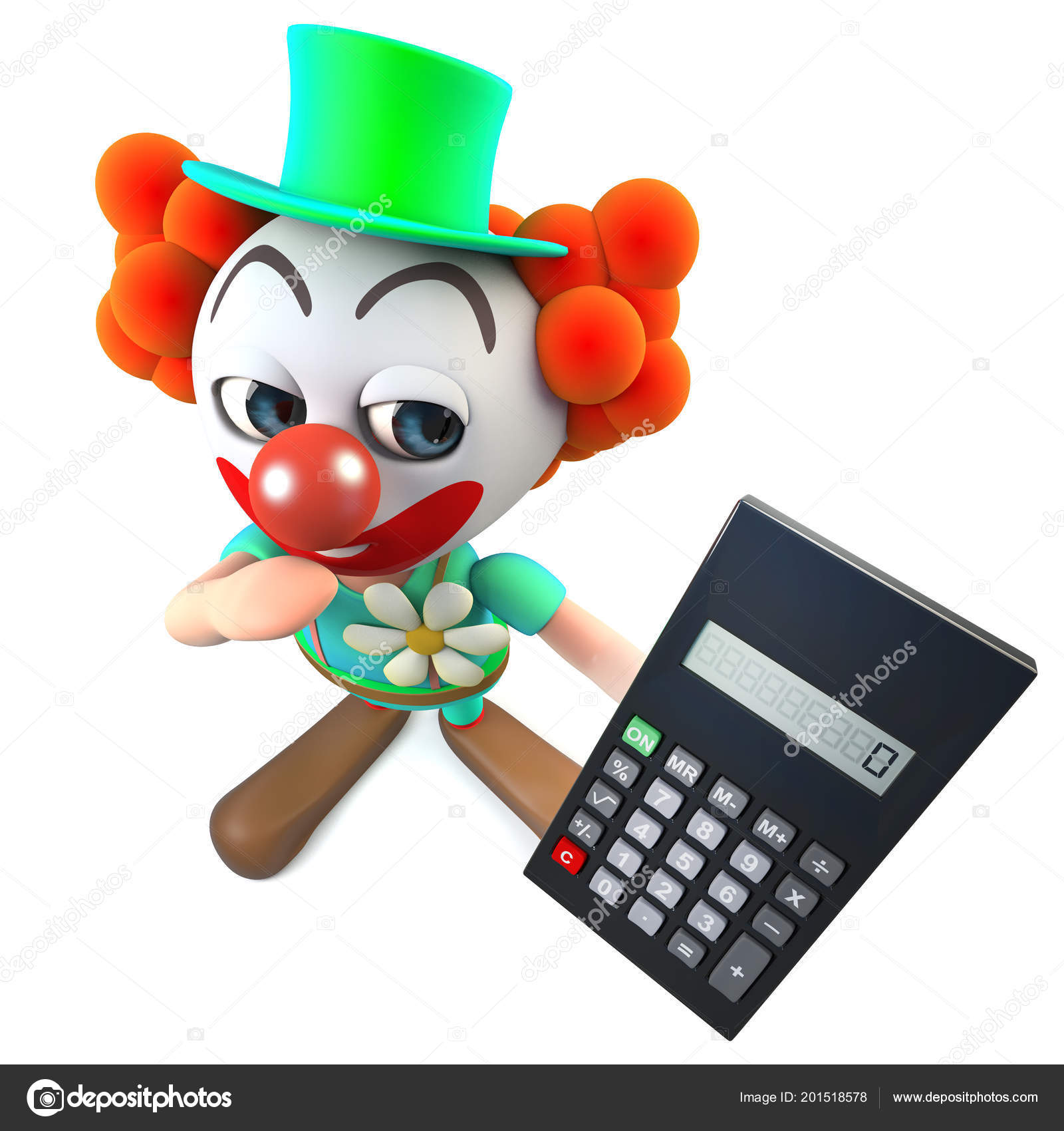 Render Funny Cartoon Clown Character Holding Digital