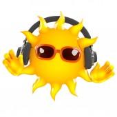 3d render of the Sun wearing headphones