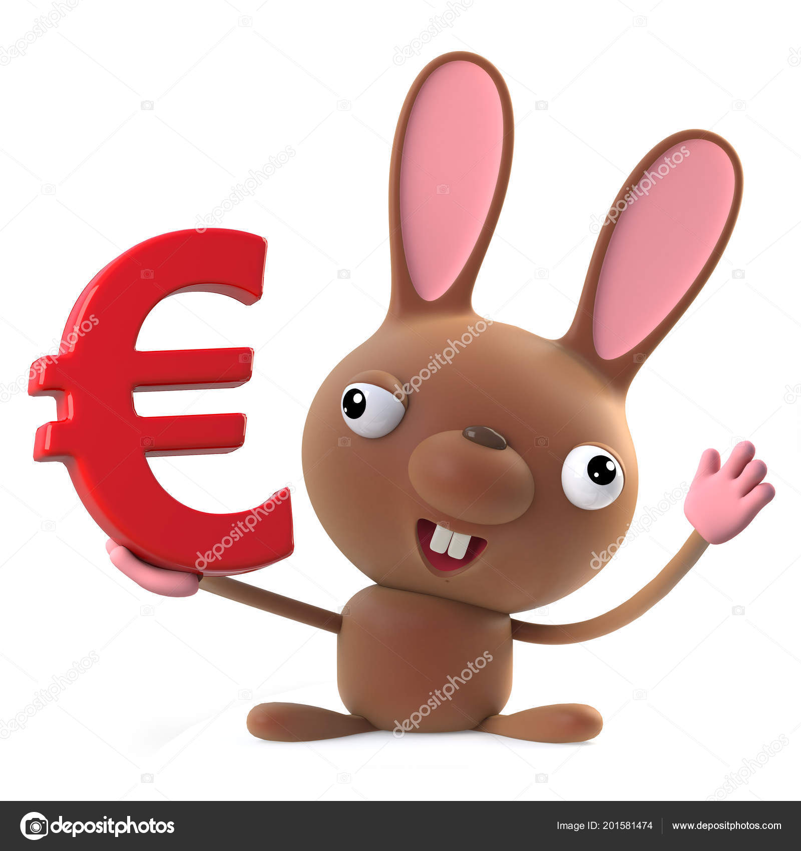 Render Cute Cartoon Easter Bunny Rabbit Character Holding Euro