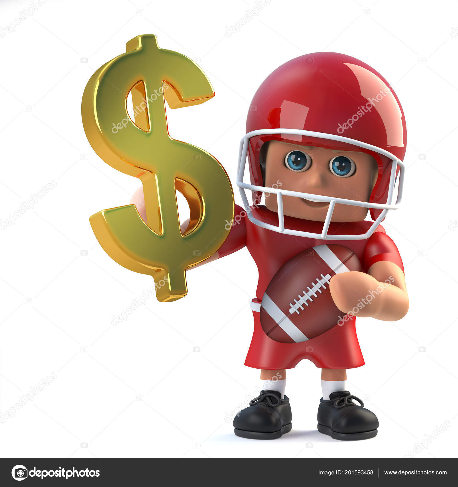 Render American Football Player Holding Dollar Currency Symbol Made