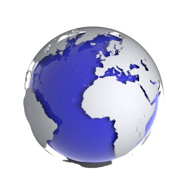 3d render of a globe of the Earth with raised continents
