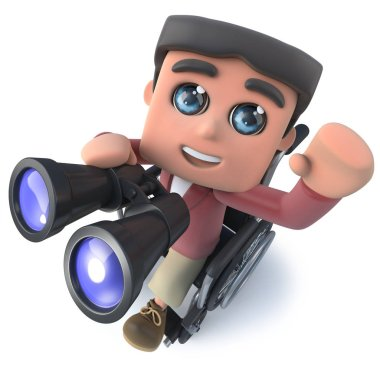 3d render of a funny cartoon boy in wheelchair waving and holding a pair of binoculars