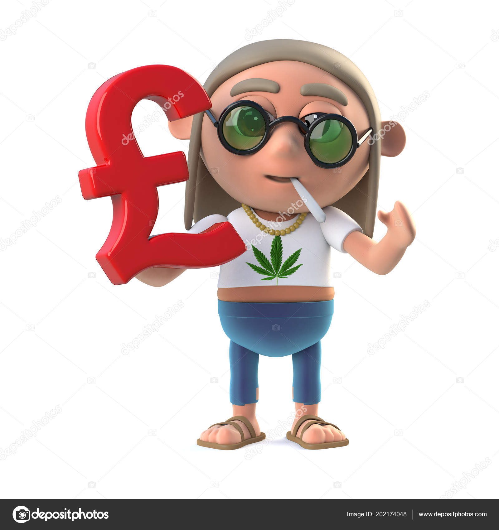 Render Stoner Hippie Holding Pounds Sterling Currency Symbol Stock