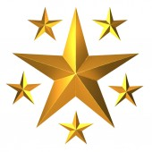 3D vykreslování zlatých hvězd