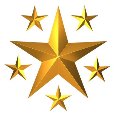 3d render of gold stars stock vector