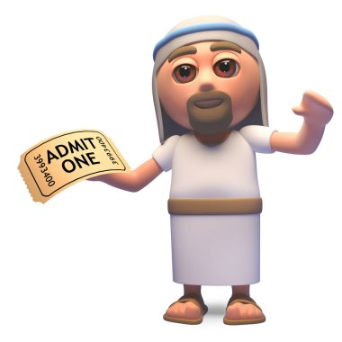 Jesus Christ son of God has a ticket of admission, 3d illustration