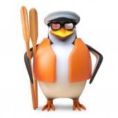 Tengerész pingvin tengerész a matróz kalap és mentőmellény tart egy pár evez, 3D illusztráció