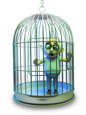 Poor Halloween zombie monster has been trapped in a bird cage, 3d illustration render stock vector