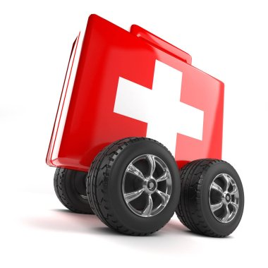 3d render of a first aid kit on wheels stock vector