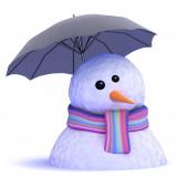 3d Melting snowman under umbrella
