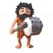 lustige 3D-Cartoon prähistorische Höhlenmensch-Figur, die mit seiner Keule eine Bassdrum spielt, 3D-Illustration