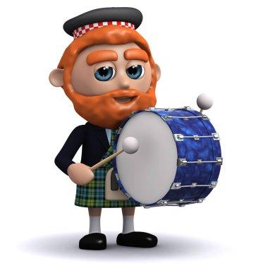 3d render of a Scotsman banging a bass drum stock vector