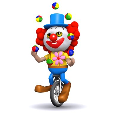 3d render of a clown juggling on a unicycle stock vector