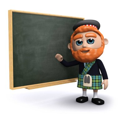 3d render of a Scotsman at the blackboard stock vector
