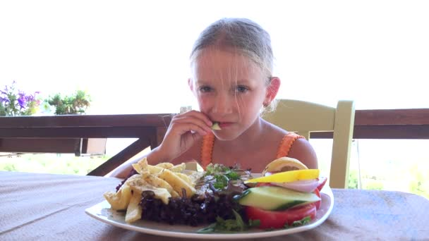 Child Eating Healthy Food, Girl Eats Vegetables at Restaurant, Hungry Kid 4K