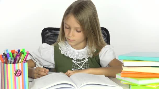 4 k školy dívka čtení, psaní dítě Student, Office zobrazit a učí dítě