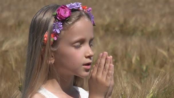 Girl Praying to Rain in Wheat Field, Pensive Prayer Child Meditating, Nature