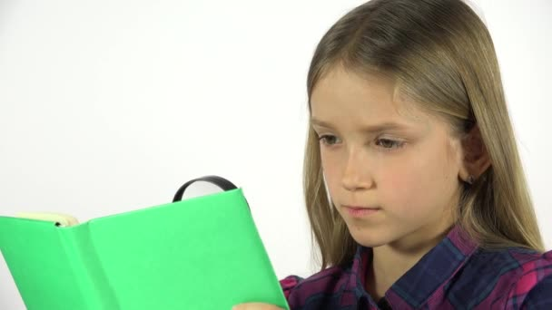4K Child Reading Green Book, Portrait Student Girl Learning White Screen Closeup