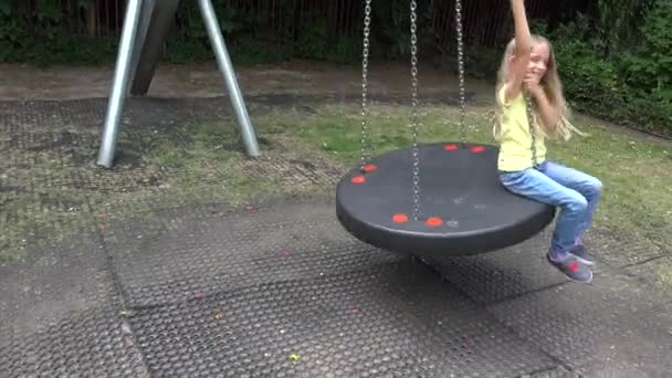 Happy Smiley Girl Swinging Outdoor, Child Playing at Playground Park Children 4K