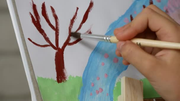 Child Painting Nature Landscape, School Girl in Workshop, Art Craft Classroom 4K