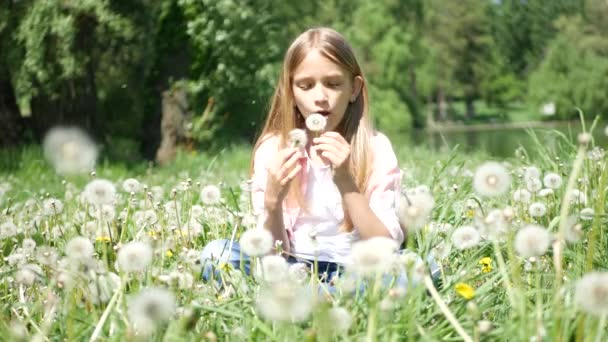 Child Playing in Park, Girl Blowing Dandelion Flowers on Meadow Outdoor Nature