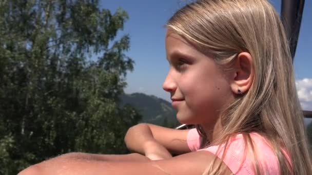Child in Chairlift, Tourist Girl in Ski Cable, Kid in  Railway Mountains, Alpine