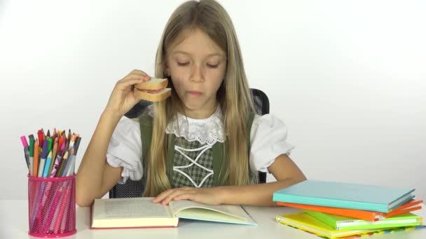 Školy dívka čtení, zobrazení Office Student dítě učení, dítě jíst sendvič,