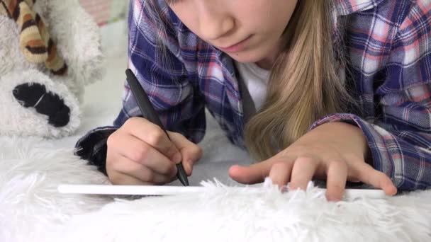 Child Playing Tablet in Playroom Girl Writing Homework for School Kid Playground