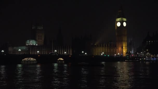 Big Ben in London by Night, Traffic on Westminster Bridge, British Old Clock