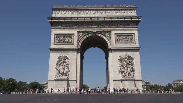 Paris Traffic by Triumph Arch, Champs Elysees Road People Traveling in France