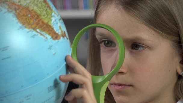 Kid Studying Earth Globe, Child in School Class, Student  Girl Learning in Library, Children Education, Educative View