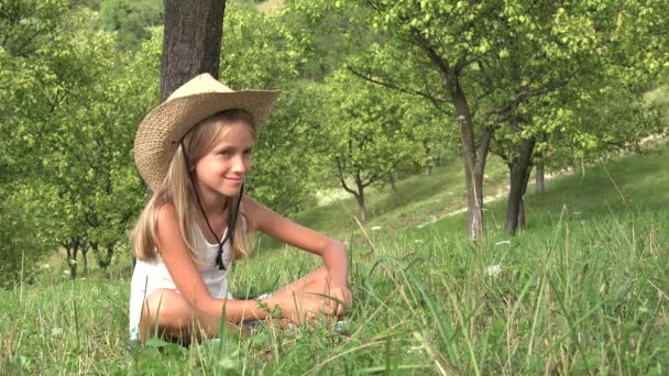 Kid Playing in Grass, Bored Child Relaxing in Orchard Outdoor, Thoughtful Girl in Nature