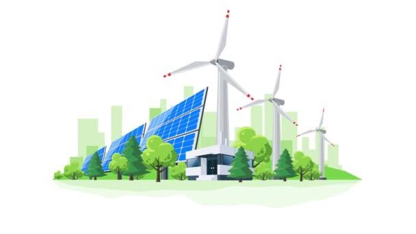 Jednoduchý pohyb loopable 4k ploché kreslené animace větrné turbíny a solární panely před kancelářské budovy městské panorama. Udržitelné obnovitelné eco zelené energie zásobování města téma