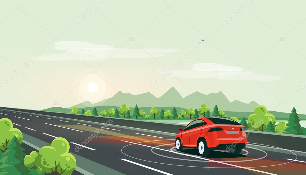 Vector illustration of smart autonomous driverless electric car driving on highway in nature mountain landscape. Lonely ride with empty road on sunset. Autopilot radar sensors scanning distance.