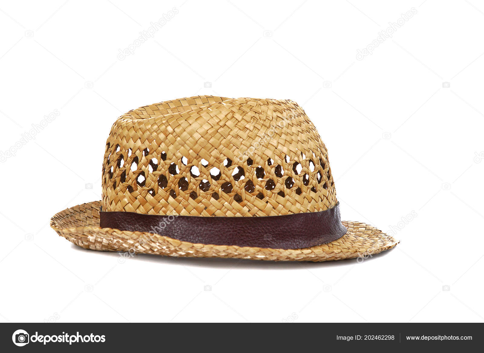 cfde5ab3 Summer beige straw hat isolated on white background.Close up of handcraft weave  wide brim hat made from reed,bamboo,rattan.Decoration with ribbon band on  ...