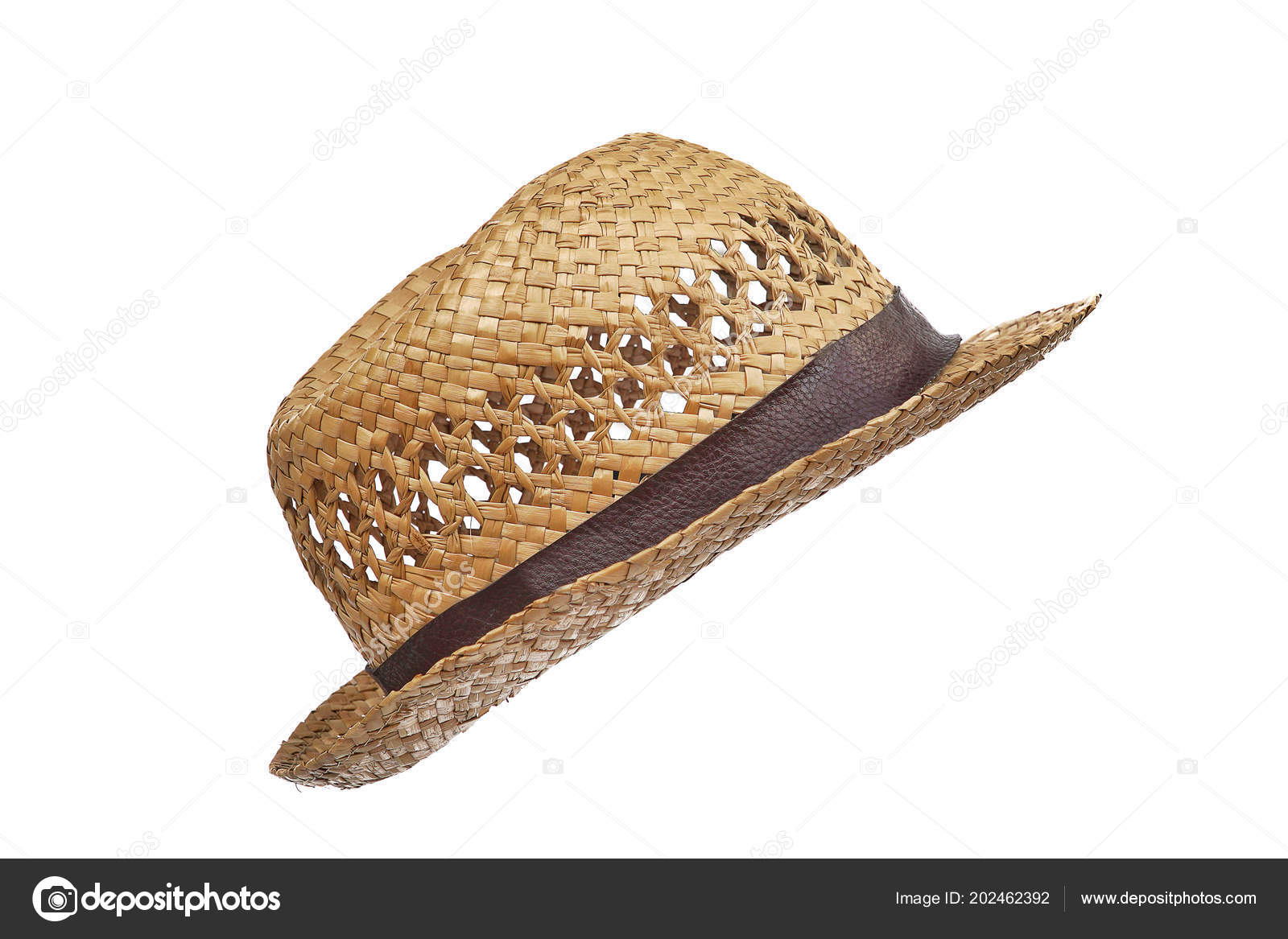 Summer beige straw hat isolated on white background.Close up of handcraft  weave wide brim hat made from reed e3d86f11ae5b