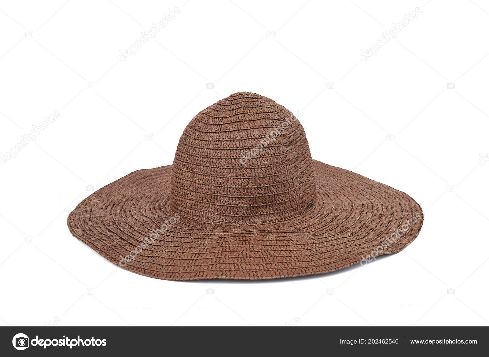 7e9cd2e3 Summer beige straw hat isolated on white background.Close up of handcraft weave  wide brim hat made from reed,bamboo,rattan.Decoration on plain design.