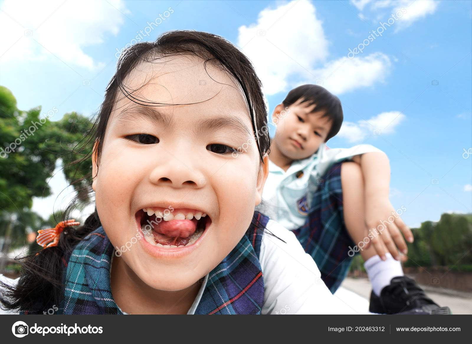 Funny Asian Little Kids Brother Sister Sitting Car Sunroof Beautiful