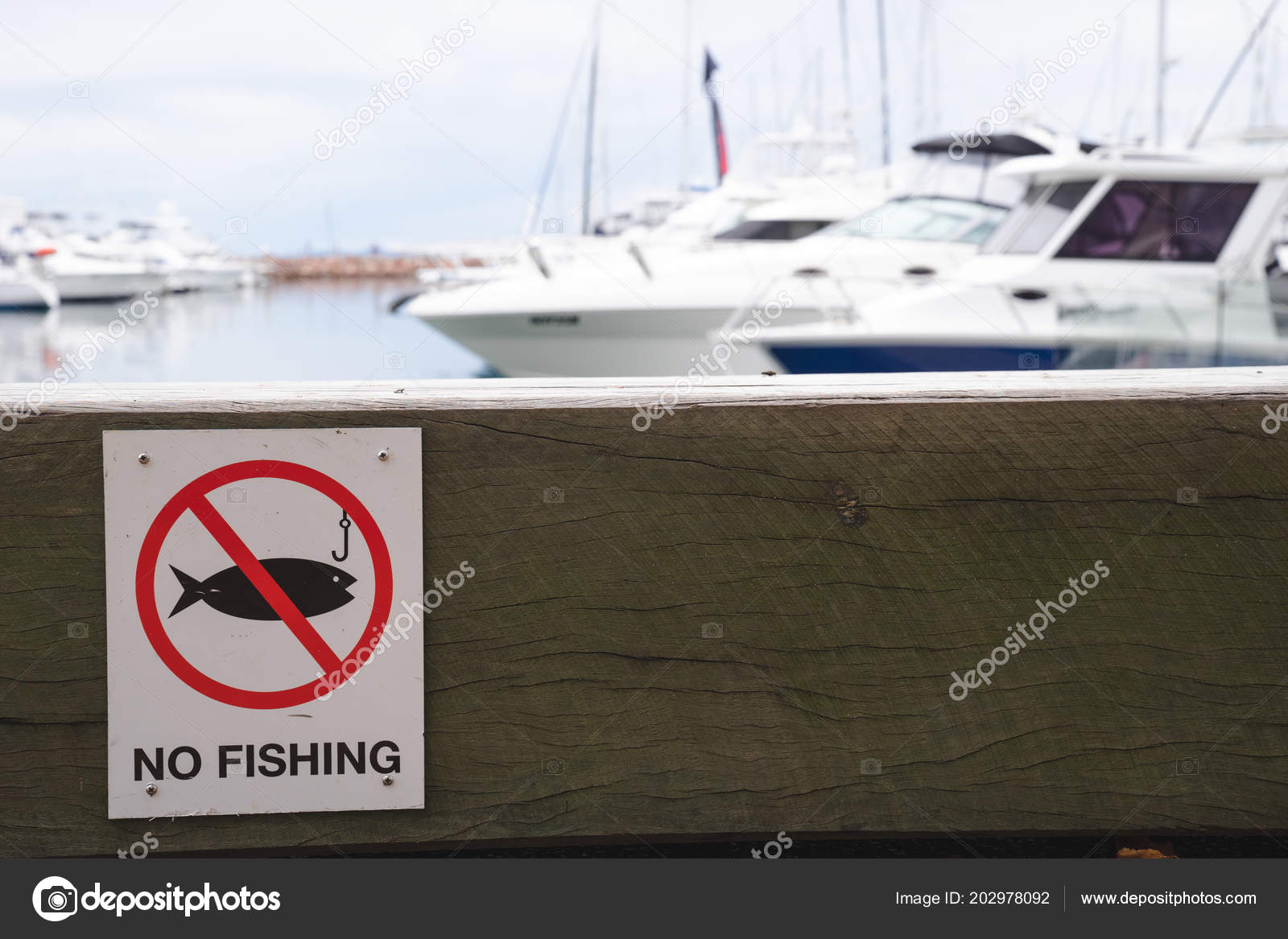 Surprising Fishing Warning Sign Wooden Bench Block Sitting Pier Boats Evergreenethics Interior Chair Design Evergreenethicsorg