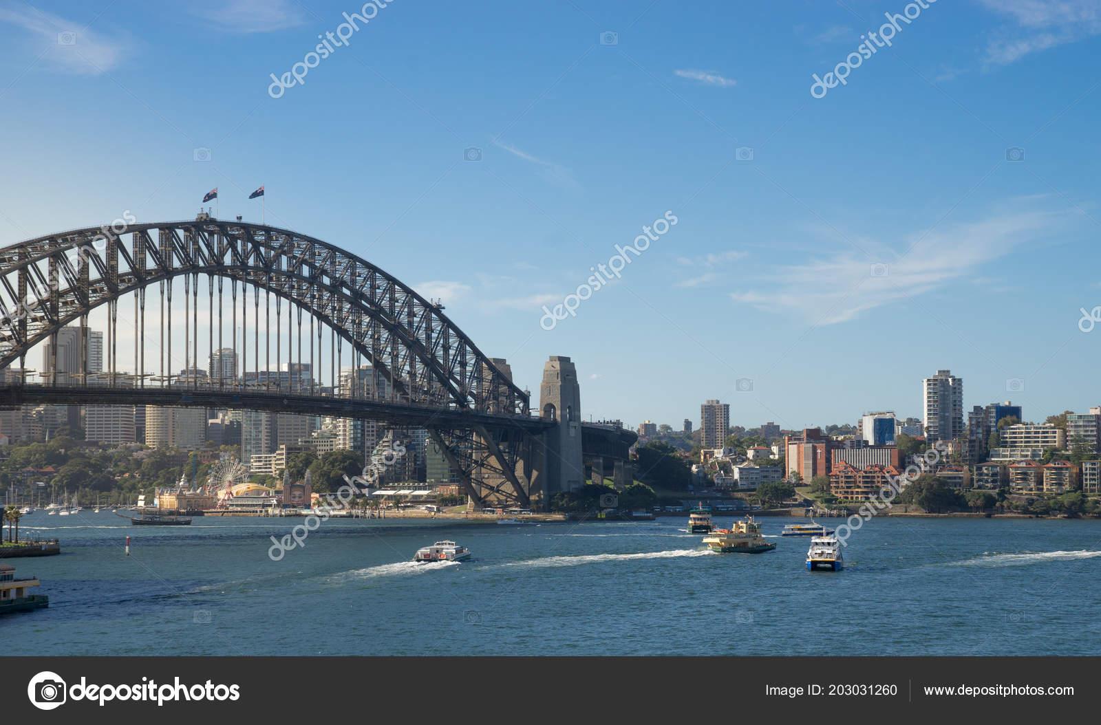 View Boats Ferries Harbour Harbour Bridge Background Sydney One