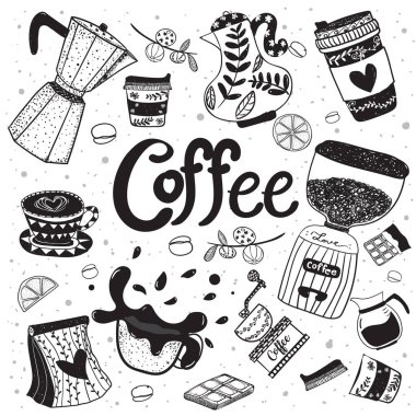 Cute doodle coffee equipment hand drawing flat vector element, black on white