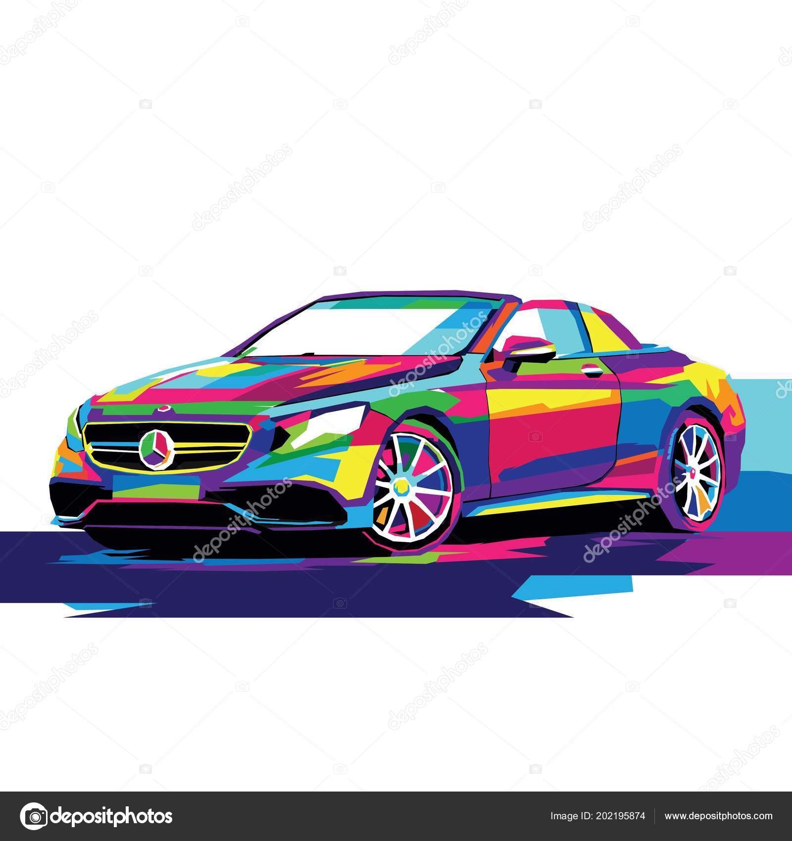 Colorful Sport Car Illustration Car Vector Car Drawing Stock