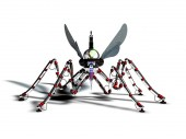 Cyborg mosquito on a neutral background, 3D rendering