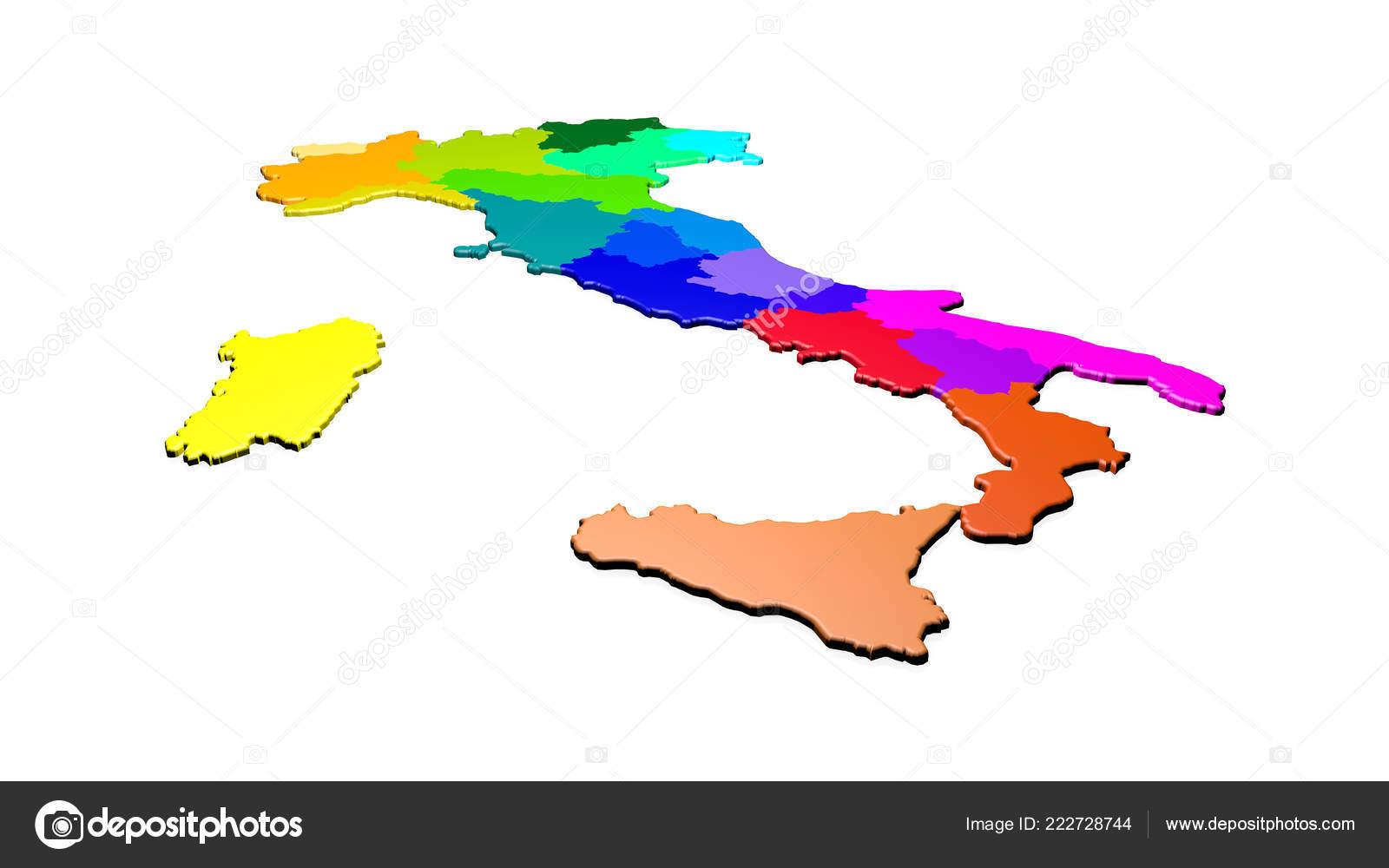 Italien Karte Regionen.Karte Von Italien Mit Farbigen Regionen Auf Neutralem Hintergrund