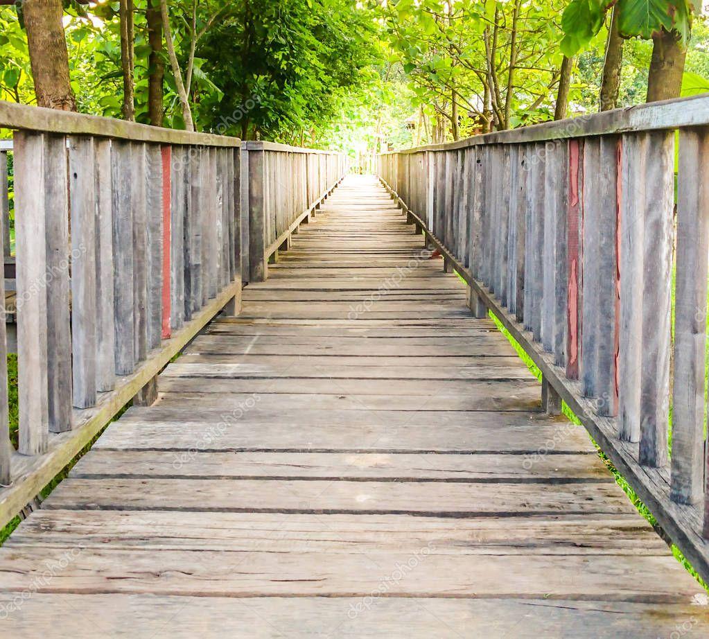 Wooden walk way bridge and sunlight in the beautiful garden
