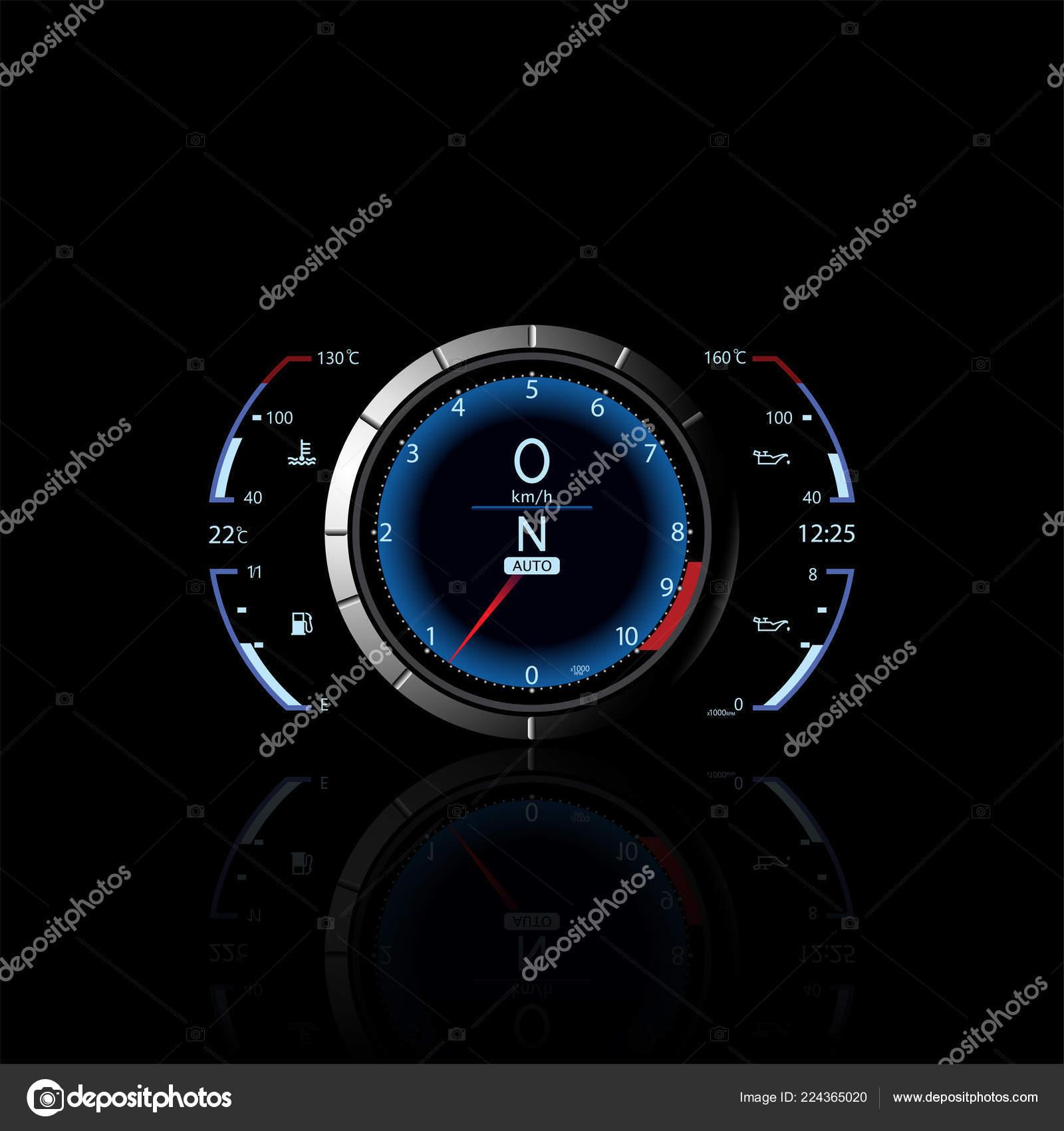 Realistic Sport Car Vector Speedometer Dashboard Lights