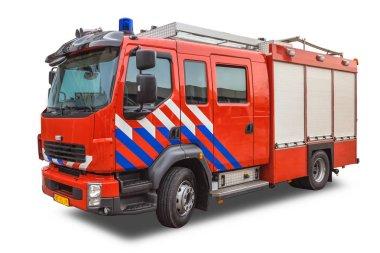 Yangınla mücadele üzerinde beyaz izole motoru