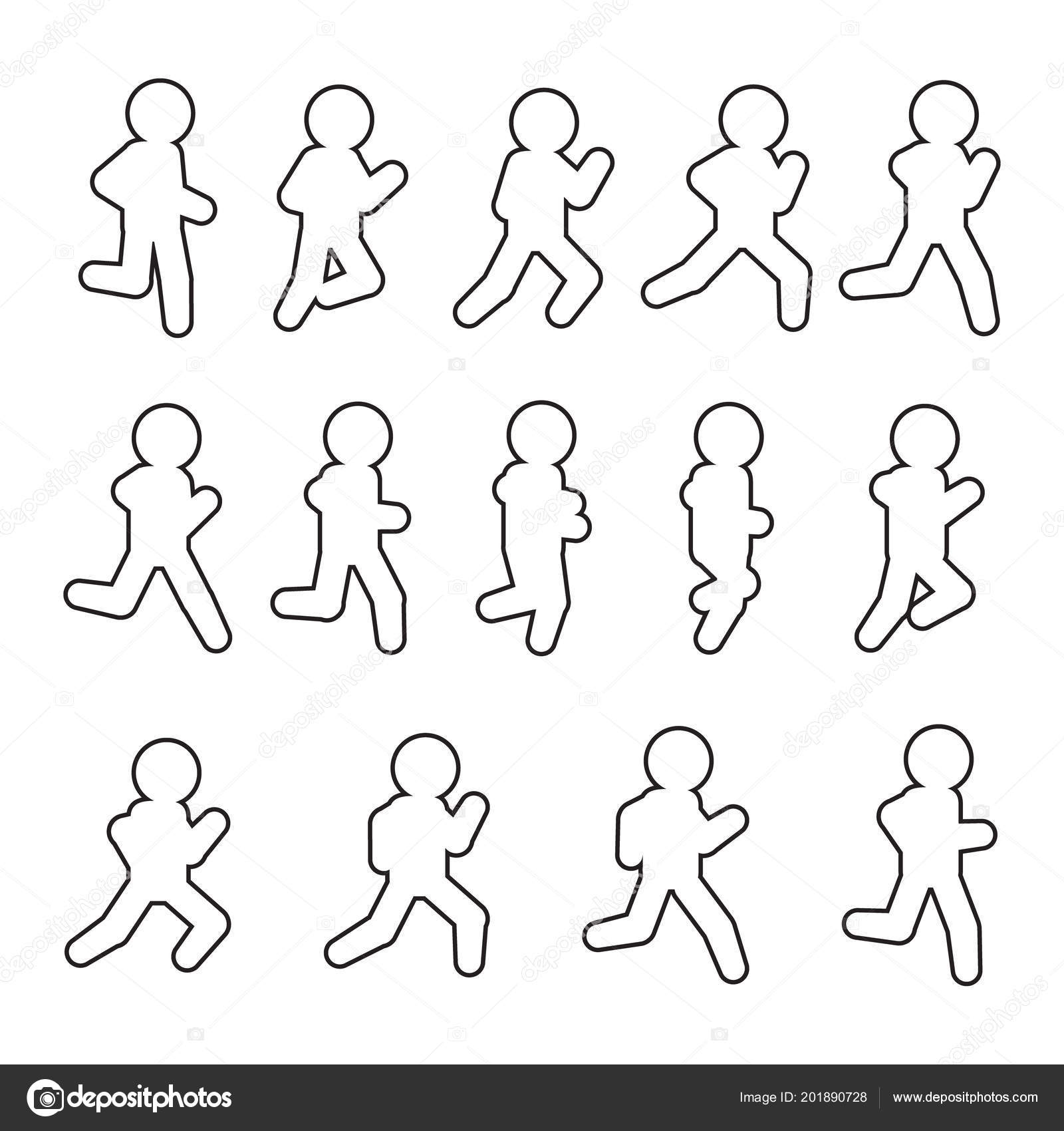 Running Vector Sequence Line Icon Set Running Frames Outline Icon ...