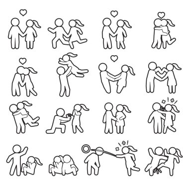 Love and couple thin line icon set. Love outline icon set. Vector.
